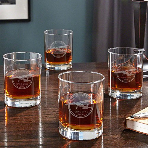 Aviator Personalized Whiskey Glasses, Set of 4 (Customizable - For Aviators Gifts