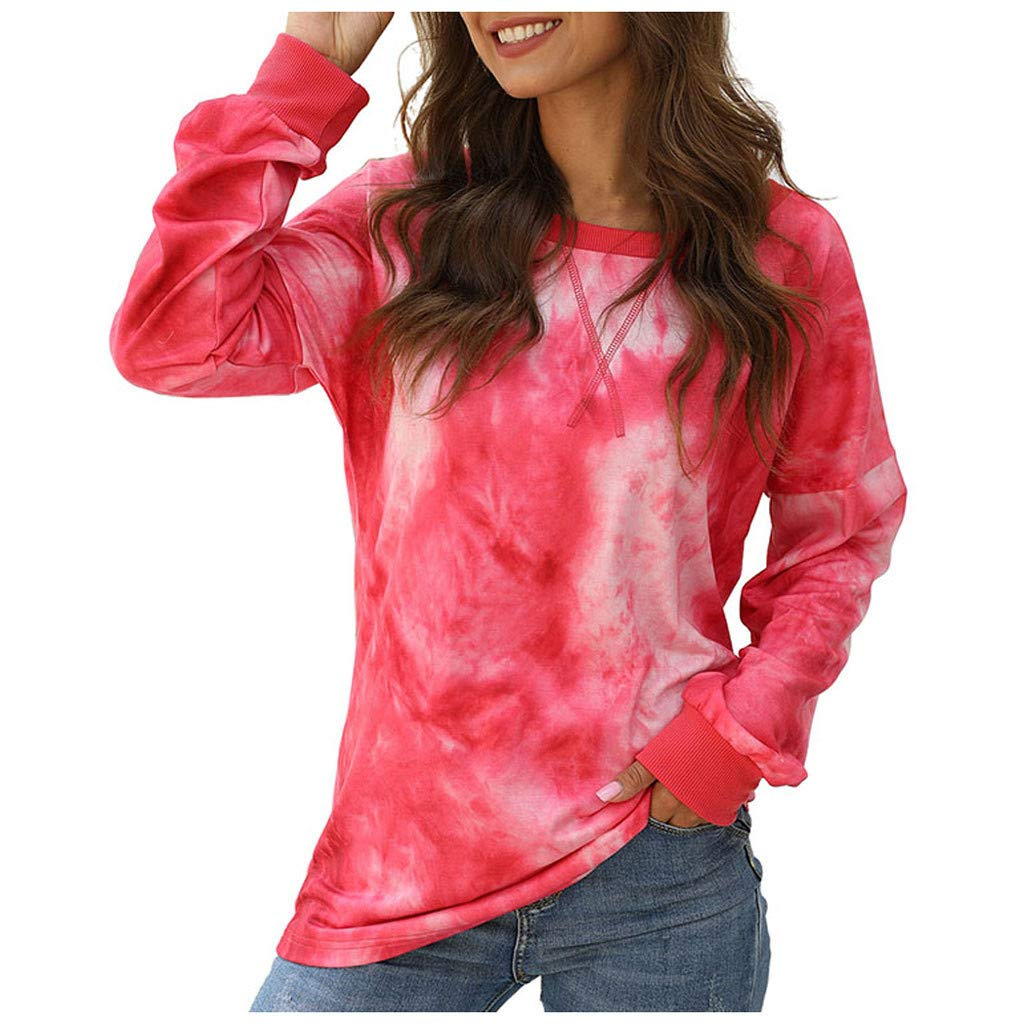 Lataw Women Tops Sweatshirt Girls Color Print Loose O Neck Long Sleeve Button T-Shirt Soft Tunic Casual Pullover Blouse by Lataw