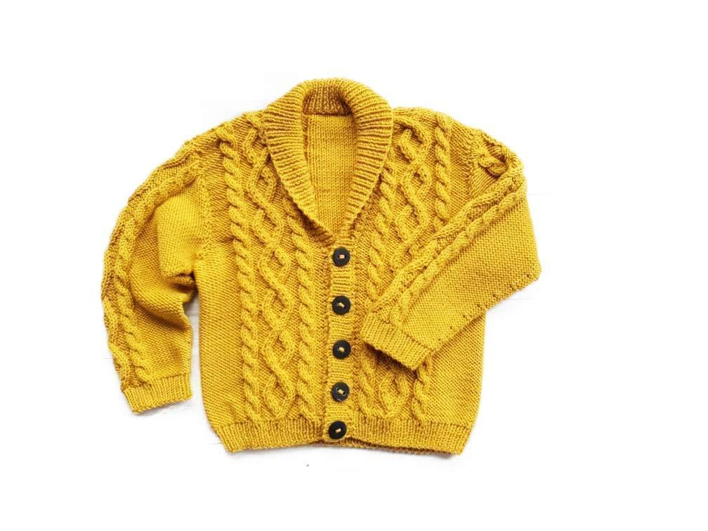 : Knitted shawl collar cardigan in merino wool for