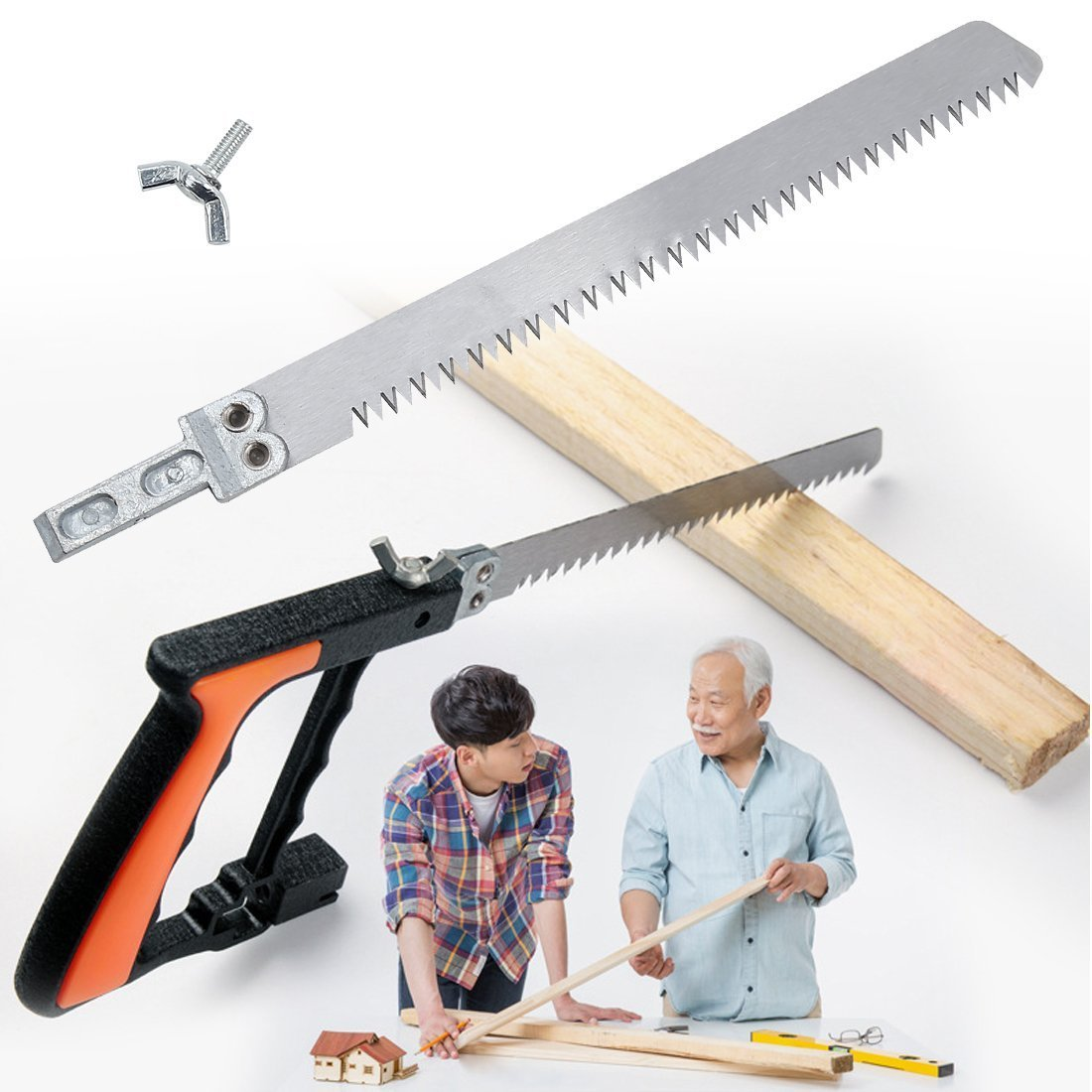 Handsaws Set, Four Fold Ruler, Multifunction Bow Saw +Angle Measuring Ruler for Engineer Handymen Builders Craftsmen by SILIVN by SILIVN (Image #6)