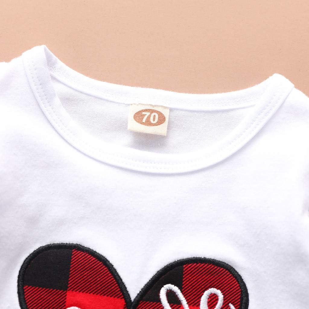 Gitter Strapsrock Kleider 2 St/ück Kleidung Set Baby t-Shirts m/ädchen Baby Kleidung Baby Set Jungen Neugeborene m/ädchen Cwemimifa Baby M/ädchen Valentinstag Langarm Herz Druck Tops Shirt
