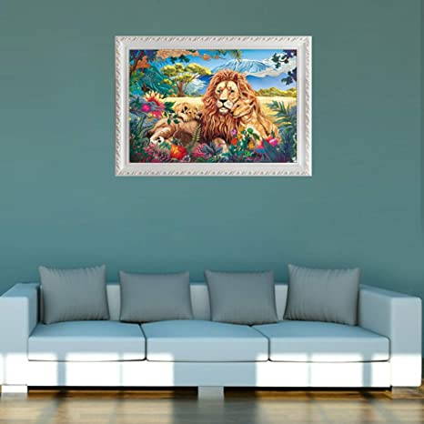 Keep Calm Series Wooden Lion Jigsaw Puzzles 1000 Pieces for Adults Entertainment Release Stress Team Game Toys Lion Family