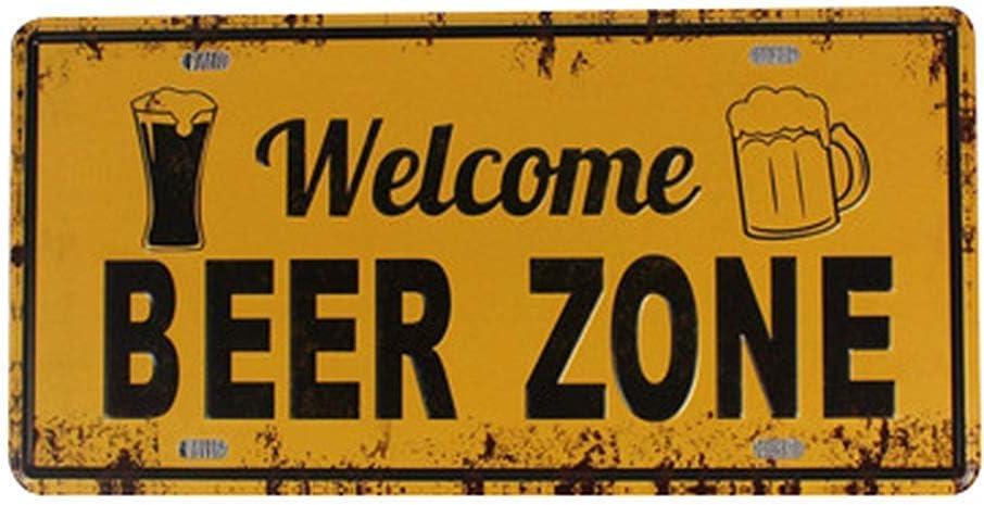 Portraits de Bar Meubles de Bar Welcome Beer Zone Art Mural en m/étal Plaque davertissement Affiche du mus/ée Restaurant mari/é Restaurant de No/ël
