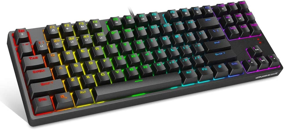 1STPLAYER TKL RGB Gaming Mechanical USB Wired Keyboard DK5.0 LITE with Cherry MX Blue Switches Equivalent, Compact 87 Keys Tenkeyless LED RGB Backlit Computer Laptop Keyboard for Windows PC Gamers