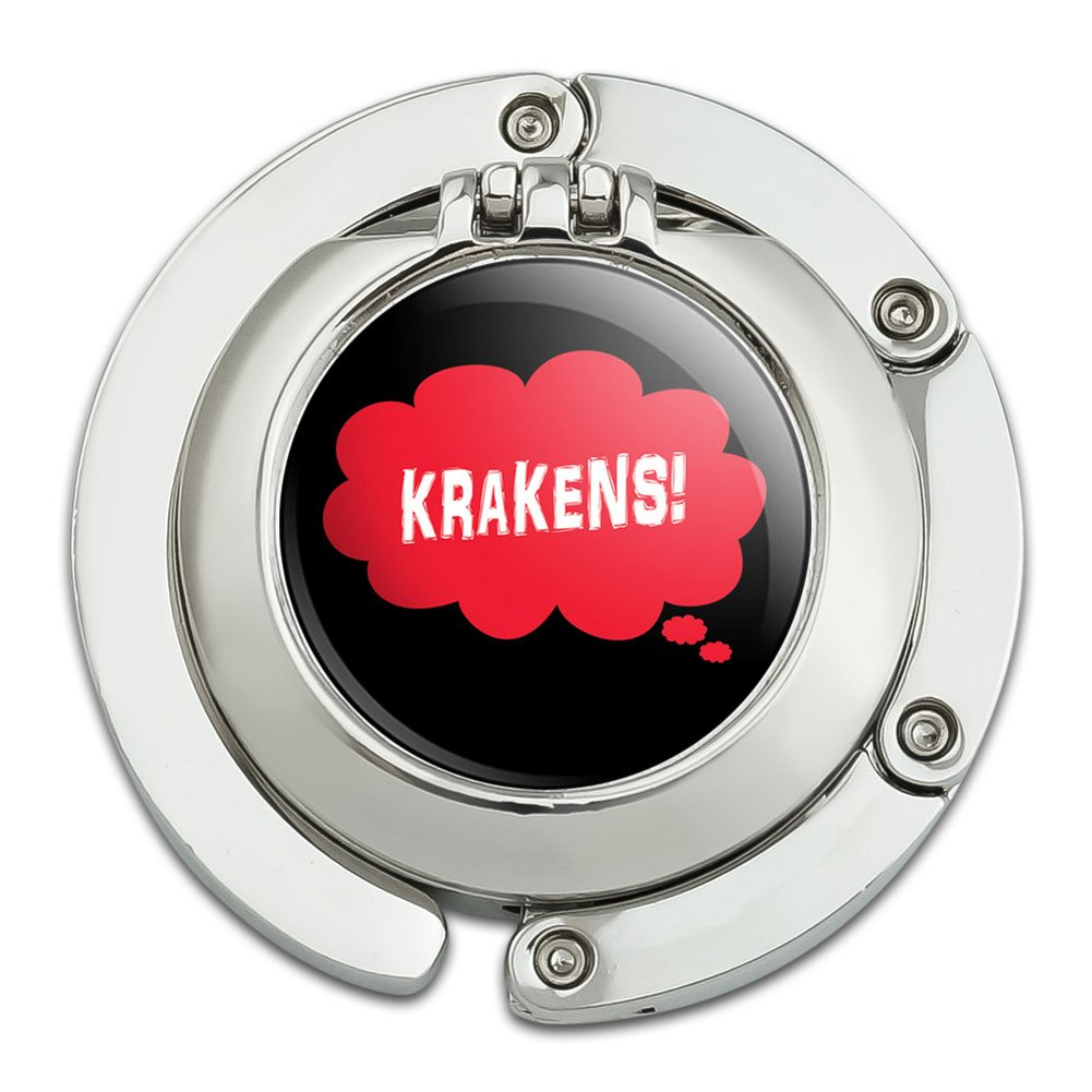 Dreaming of Krakens Red Foldable Table Bag Purse Caddy Handbag Hanger Holder Hook with Folding Compact Mirror