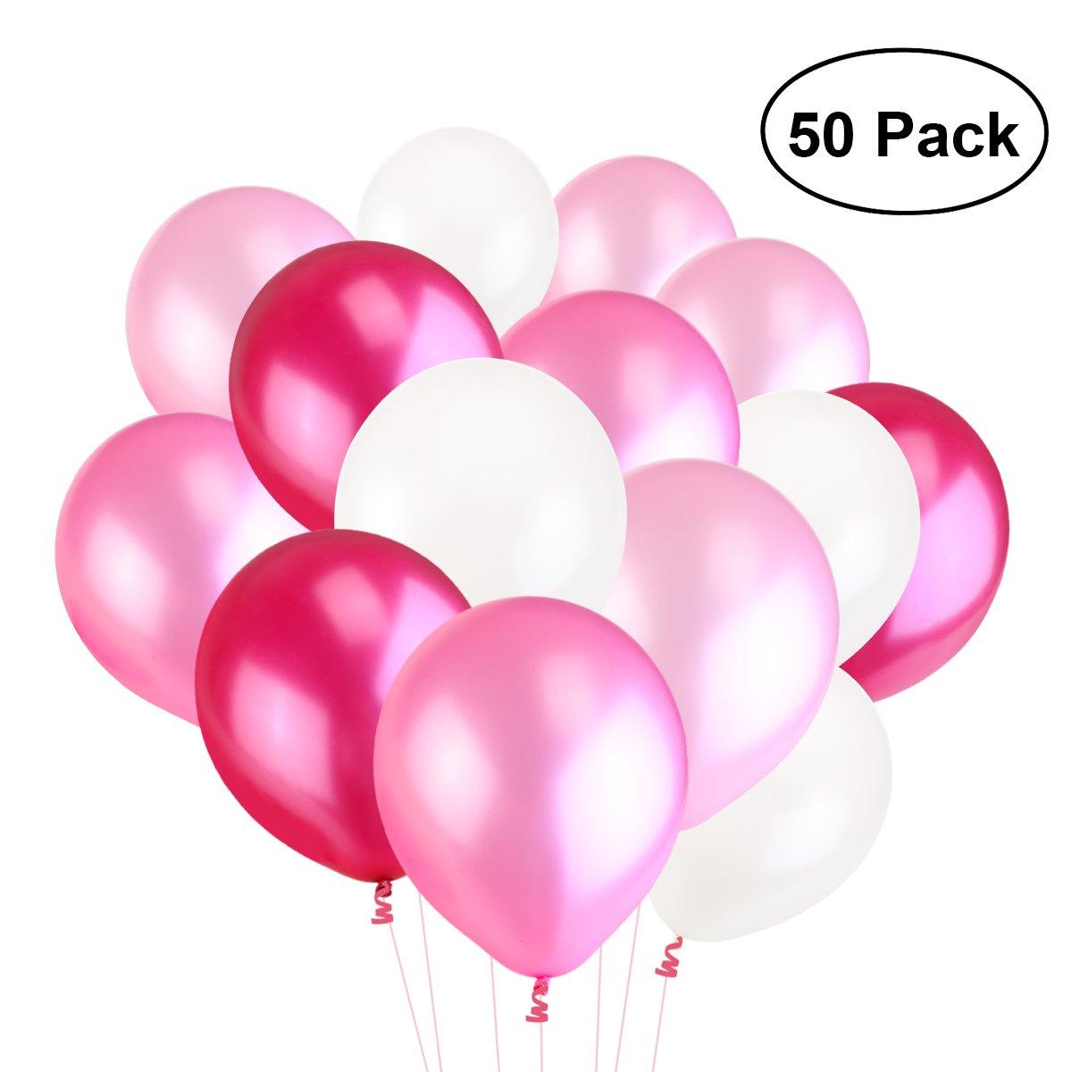 TOYMYTOY 50pcs Latex Ballon Décoration pour Mariage Fête Anniversaire (rose,rose clair, rose prune)