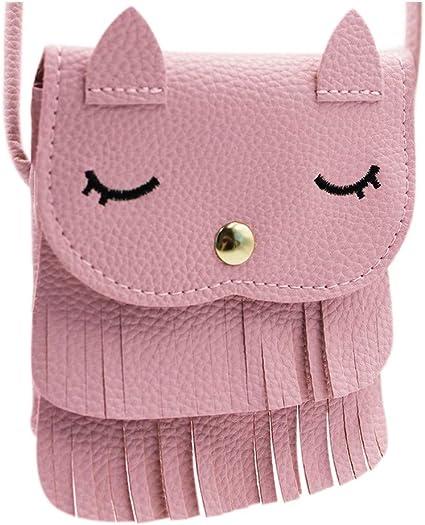 Cat Tassel Shoulder Bag Small Coin Purse Crossbody Satchel for Kids Girls
