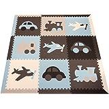 "SoftTiles Transportation Theme Kids, Baby, Infant Foam Play mats w/Sloped Edges Large 2' Floor Tiles 78"" x 78"" (6.5' x 6.5') Blue, Gray, White, Light Blue, Light Gray SCTRABGWSH"