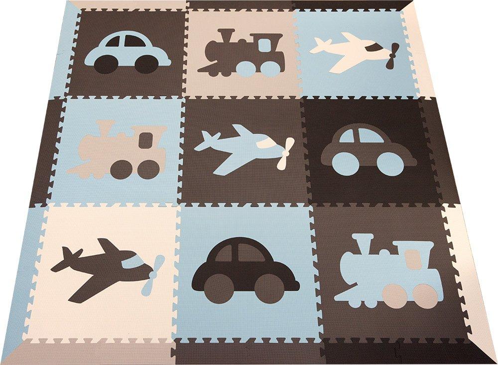 SoftTiles Transportation Theme Kids, Baby, Infant Foam Play mats w/Sloped Edges Large 2' Floor Tiles 78'' x 78'' (6.5' x 6.5') Blue, Gray, White, Light Blue, Light Gray SCTRABGWSH