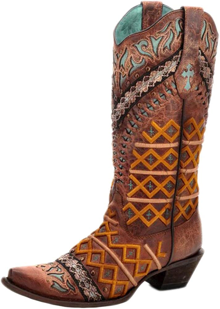 CORRAL C3285 Cognac Inlay with Embroidery and Stud Boots