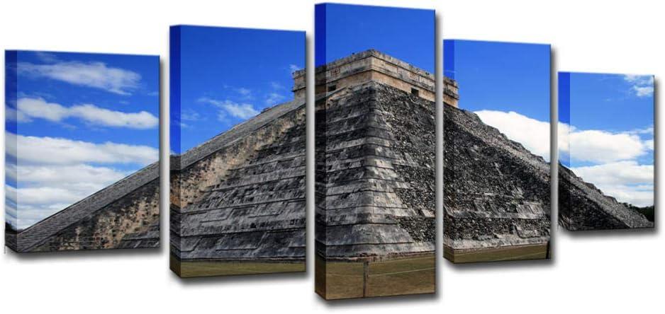 Cuadro En Lienzo 5 Piezas Pirámide maya Impresión de la lona en Lienzo Pintura Decoracion de la Pared Decoración decoración del hogar Moderna Listo para Colgar 150x80 cm
