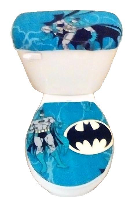 Batman Blue Fleece Fabric Toilet Seat Lid Tank