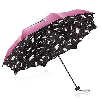 Protección Solar Paraguas UV Paraguas Paraguas Diosa Vinilo Pequeño Paraguas Doble Fresco (Color : Rojo