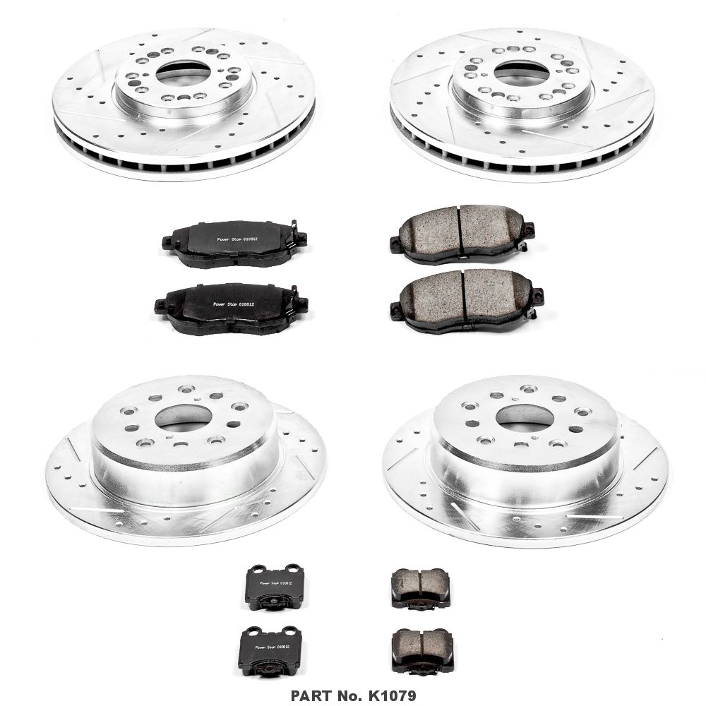 Power Stop K1079 Front and Rear Z23 Evolution Brake Kit with Drilled//Slotted Rotors and Ceramic Brake Pads