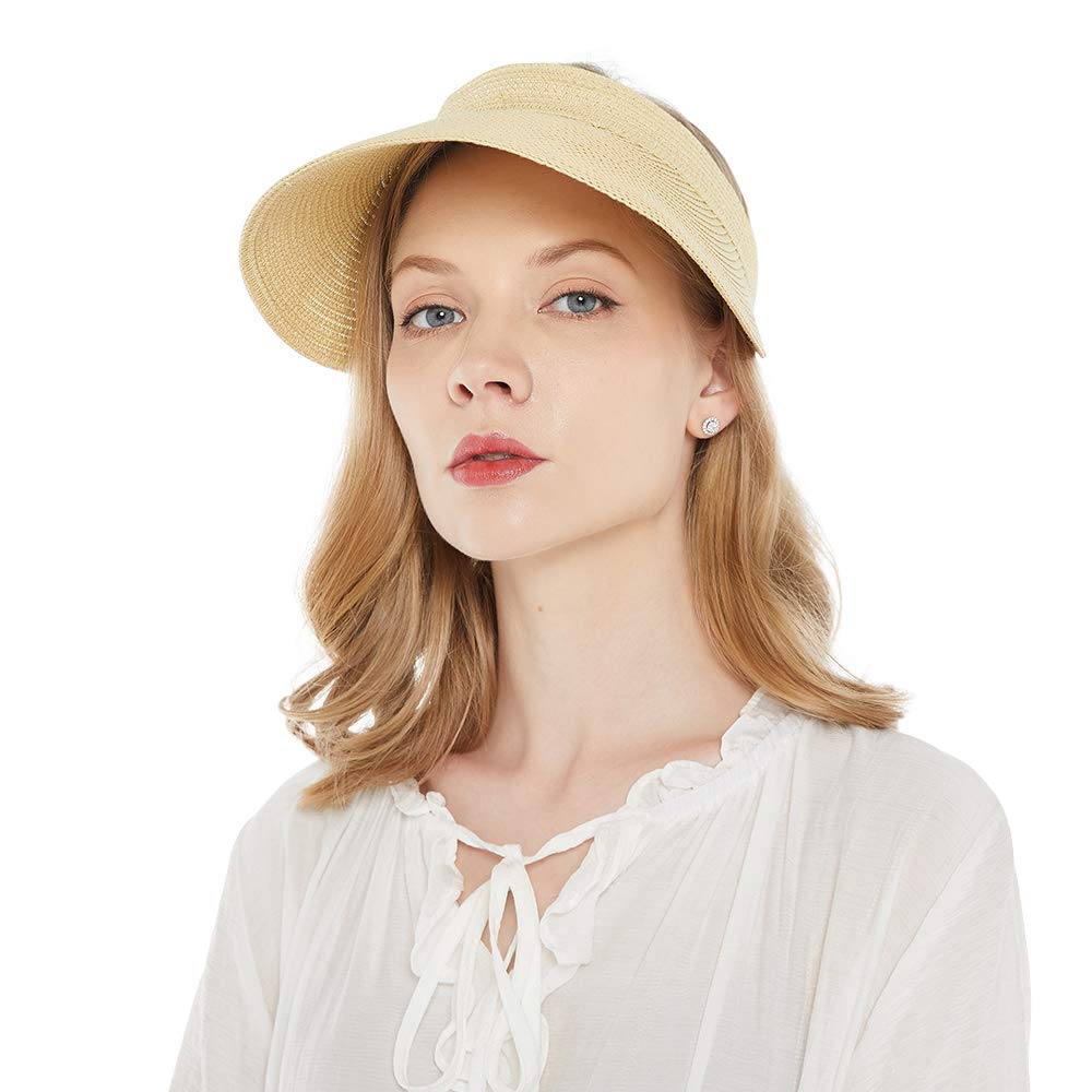 Women's Visor Hat Sun Beach Straw Visors Summer UV Protection Clip On Sports Outdoor Wide Brim