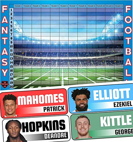 Fantasy Football Draft Board 2019 Kit - Color Rush Labels & Draft Board
