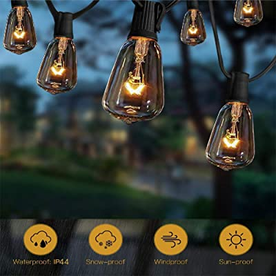 ST38 10Ft String Lights with 11 Clear Edison Light Bulbs, UL Listed E12 Base for Party Porch, Backyard Patio-Black Wire : Garden & Outdoor