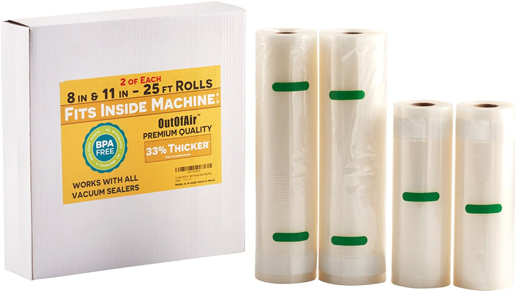 "8"" & 11"" 25ft Vacuum Sealer Rolls (Fit Inside) 4 Rolls (2 of Each, 100ft total) OutOfAir Vacuum Sealer Bags for Foodsaver, Weston etc. 33% Thicker BPA Free FDA Approved, Commercial Grade"