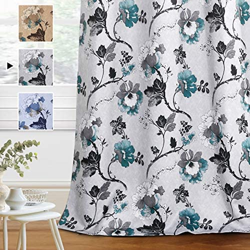 H.VERSAILTEX Blackout Curtains for Bedroom Living Room Thermal Insulated Printed Curtain Drapes 96 Inches Long Energy Efficient Room Darkening Curtains Pair 2 Panels , Vintage Floral Grey Teal