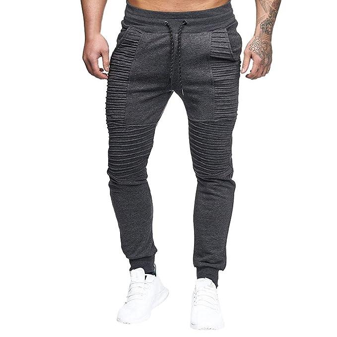 YanHoo Pantalones Deportivos Cinturones de Trineo rayados Deportivos de los Hombres de la Moda Pantalones de Lazo sólidos Casuales Pantalones Hombre ...