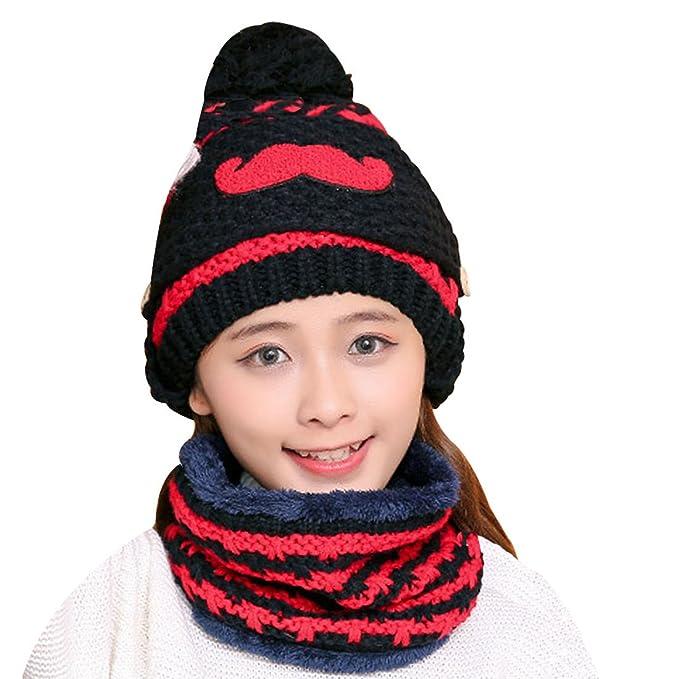 7c7b64efb6653 Kafeimali Unisex-baby Knit Stripe Beard Masks Skull Caps Beanie Hats Scarf  set (Black