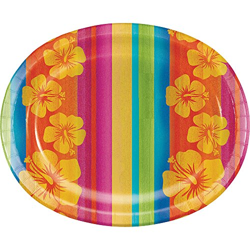 Creative Converting Sunset Stripes Oval Paper Platters, (Tropical Breeze Stripe)