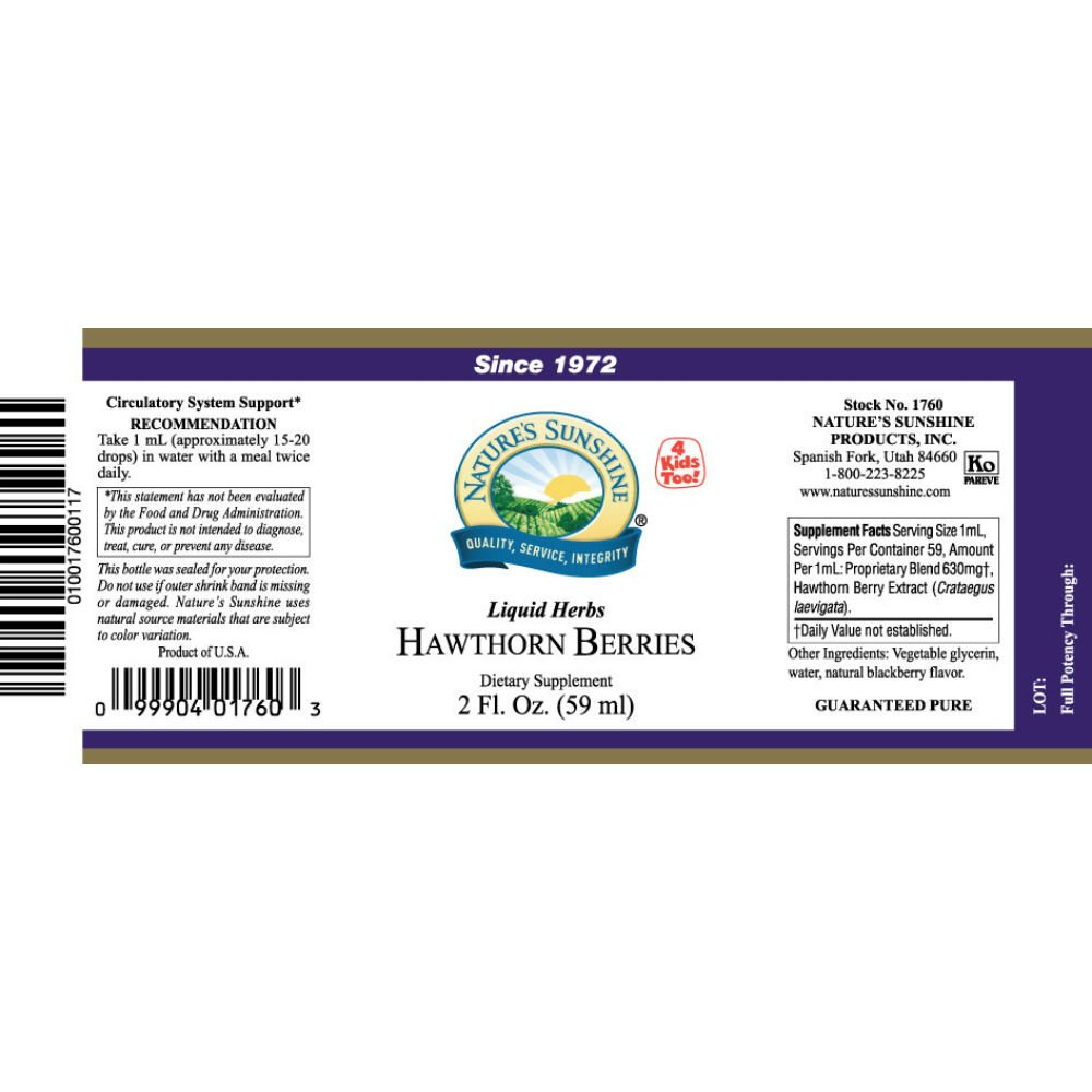 Naturessunshine Hawthorn Berries Extract Circulatory System Support Alcohol-Free Herbal Extract 2 fl.oz (Pack of 4) by Nature's Sunshine (Image #2)