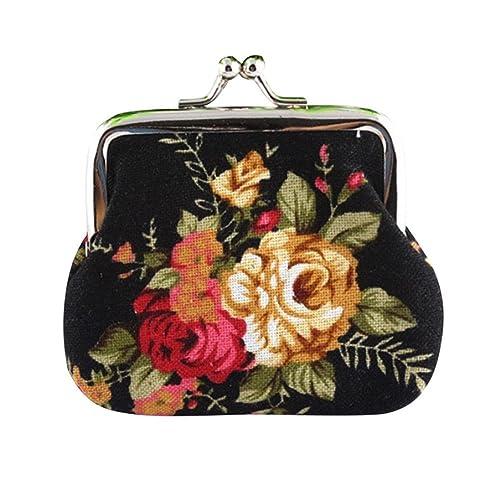 Kolylong Women Lady Retro Vintage Flower Small Wallet Hasp Purse Clutch Bag (Black)