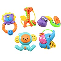 Vibgyor Vibes 5 Pcs Lovely Colourful Rattle Toys for Toddler Based On Theme of Jungle Animals. for Baby/Toddler/Infant/Child - Pack of 5 (Multi Color)