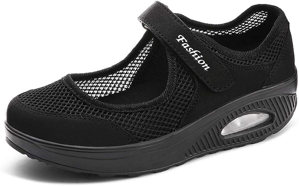 Hishoes Sandalias para Mujer Malla Merceditas Plataforma Ligero Zapatillas Sneaker Mary Jane Casual Zapatos de Deporte Mocasines Negros Verano