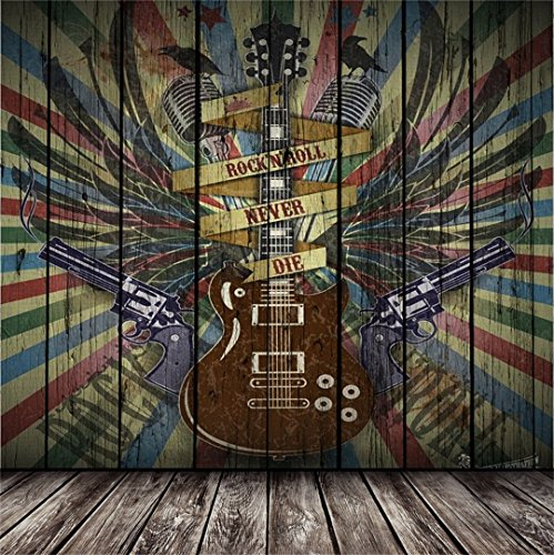 AOFOTO 10x10ft Rock Music Photography Background Vintage Guitar Graffiti Wood Wall Backdrops Punk Vocal Concert Tour Retro Stylish Trendy Man Boy Girl Artistic Portrait Photo Studio Props Wallpaper from AOFOTO