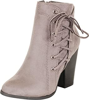 Cambridge Select Womens Side Cutout Corset Lace Chunky Block Heel Ankle Bootie