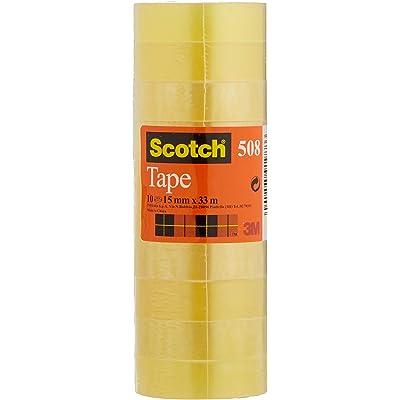 Scotch 508 - Cinta adhesiva, 10 unidades, 15 mm x 33 m, transparente