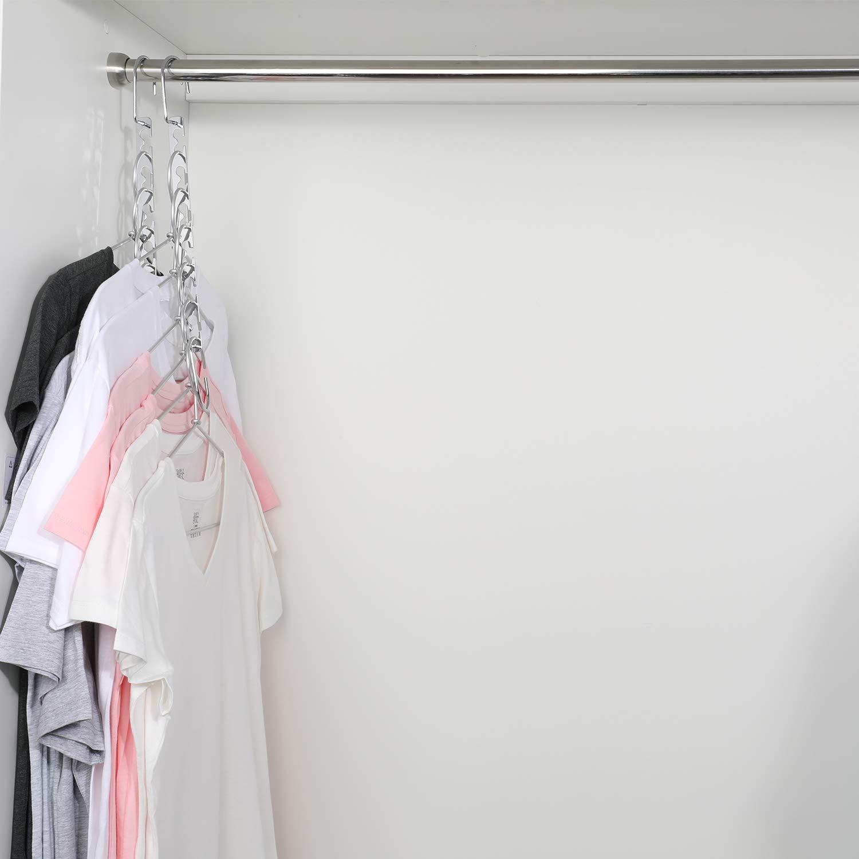 Magicool 8 Pack Metal Wonder Magic Cascading Hanger Space Saving Hangers Closet Organizers Suit for Shirt Pant Bra Clothes Hangers Space Saving