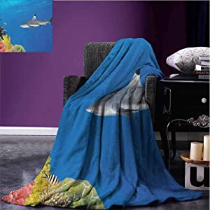 JKTOWN Shark Kids Blanket Super Soft Blanket 51x60 inch Tropical Underwater World with Fishes Swimming and Coral Reef Serene Wildlife Picture Multicolor