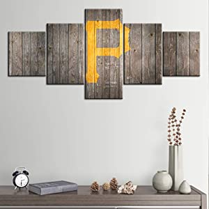 Native American Wall Art Pittsburgh Pirates Logo Paintings USA Baseball Pictures 5 Panel Canvas Modern Artwork Home Decor for Living Room Giclee Framed Gallery-wrapped Ready to Hang(50Wx24H inches)