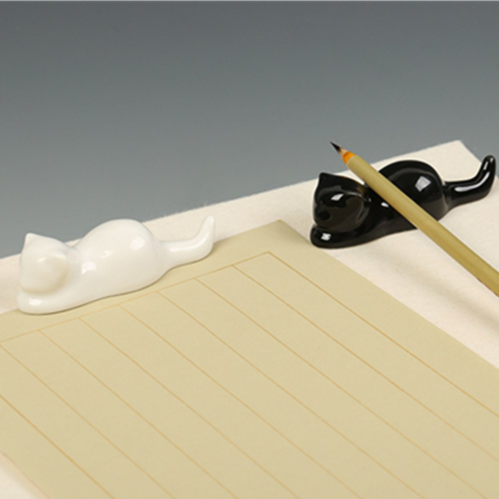 BG011 Hmay Chinese Calligraphy and Sumie Ceramic Brush Rest / Holder with Cat Design (1 Pair with black one plus white one)