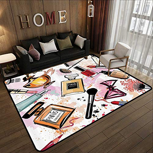 - Large Area Rugs,Girly Decor,Cosmetic and Make Up Theme Pattern with Perfume and Lipstick Nail Polish Brush Modern City Lady,Multi 71