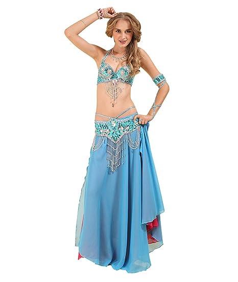 SunWanyi Mujeres Profesionales Vestido Danza del Vientre Trajes Establece Indian Dance Rendimiento (Descripción de la Referencia)