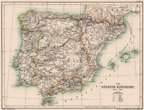 Iberia. España. La Kingdoms 1263 – 1492 Española. Portugal – 1902 – Old Antiguo Mapa Vintage – Mapas de Impreso de España: Amazon.es: Hogar