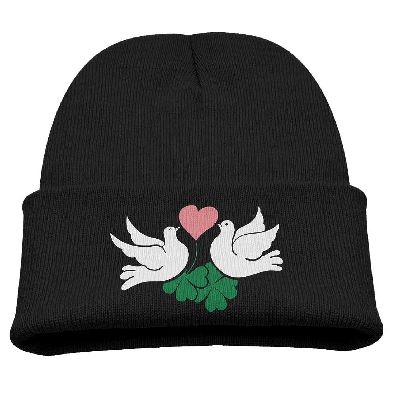 cheap Hfdv Skull Caps Clover Peace Love Children Girl Knit Beanie Ski Hat Winter Warm Wool Skull Caps for cheap