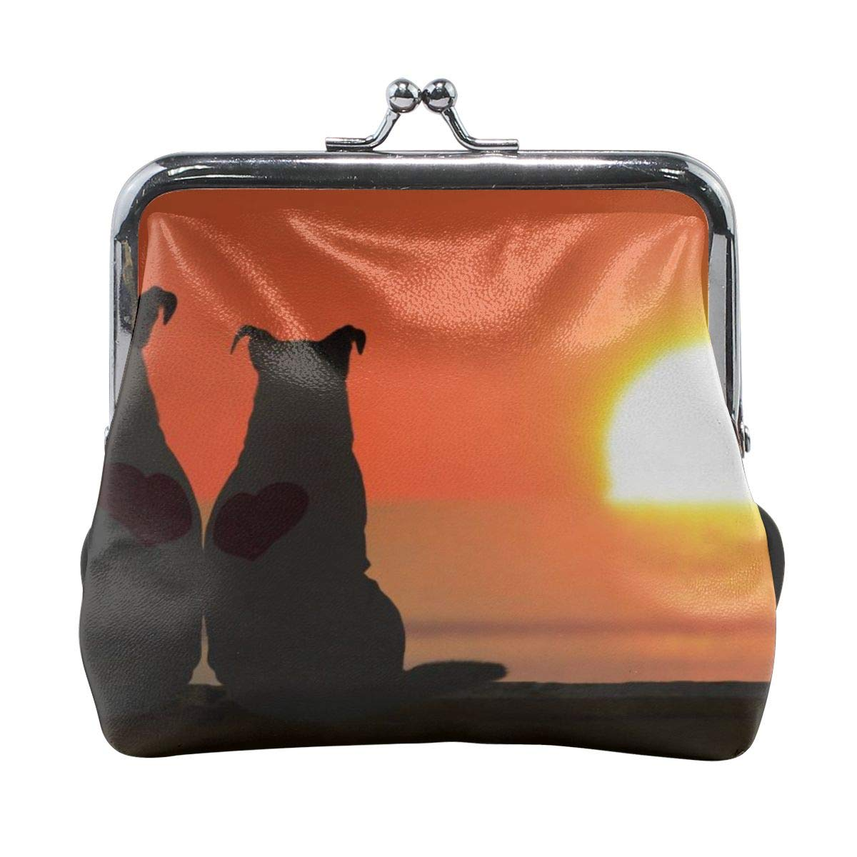 Yunshm Russell Terrier Watching The Sunset Personalized Leather Classic Floral Coin Purse Clutch Pouch Wallet For Womens