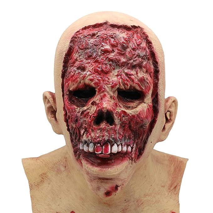 Rocer Halloween Horror Asustado Sangriento Máscara, Cosplay Zombie Demonio Mutante Tapas De Látex: Amazon.es: Deportes y aire libre