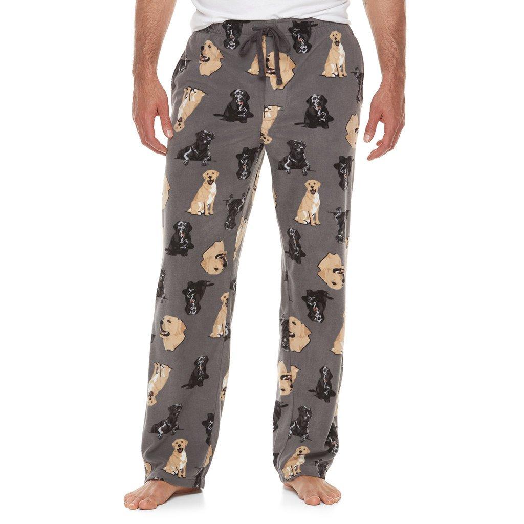 Croft & Barrow Black & Yellow Lab Labrador Print Brushed Fleece Sleep Bottoms Lounge Pajama Pants For Men (Medium)