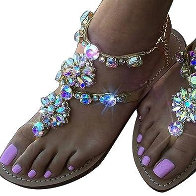 Kootk Zehentrenner Sandalen Damen Sommer Schuhe Flach Strandschuhe Abendschuhe Sandaletten Boho Sommerschuhe Flip-Flop Sandalen Schwarz 37 IdD0hu7d