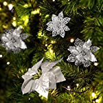 WILLBOND-30-Pieces-Glitter-Poinsettia-Artificial-Christmas-Tree-Ornament-Christmas-Flowers-for-Xmas-Valentines-Day-Spring-Festival-Wedding-Decorations-Silver