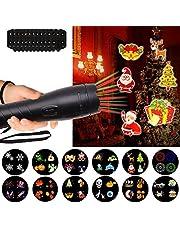 Echoming Luces de Proyector Navidad, Luz de Jardín con 12 Patrones Colorido Luces Decorativas Luces de Fiesta Lámpara de Proyector Giratorias para Navidad, Muro Decoración, Cumpleaños Celebraciones, Bodas,San Valentín, Club Pub