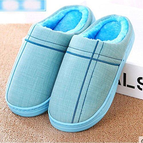 Winter Innen-Hausschuhe Boden Hausschuhe Familie Anti-Rutsch-Breathable Baumwolle Warm Hausschuhe Schuhe-Blau01