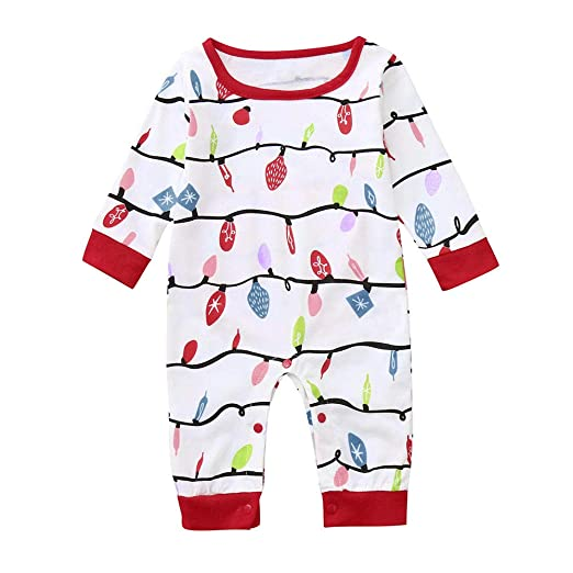 Sameno Newborn Baby Boy Christmas Outfit Family Pajamas Sleepwear Romper  Jumpsuit Clothes (White 27bc608d7