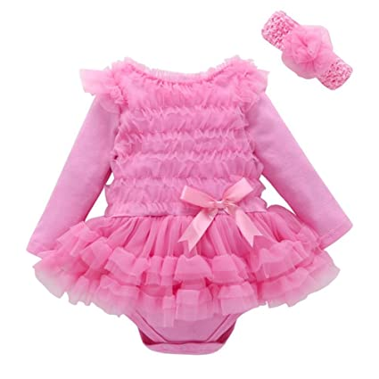 c2e624f2127c Amazon.com  Gotd Toddler Baby Girls Boys Clothes Lace Solid Ruffles ...